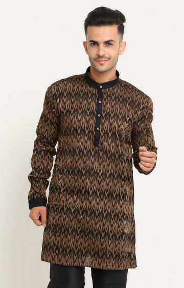 Showoff | Black and Brown Printed Kurta