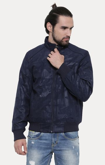 With | Blue Solid PU Leather Jacket