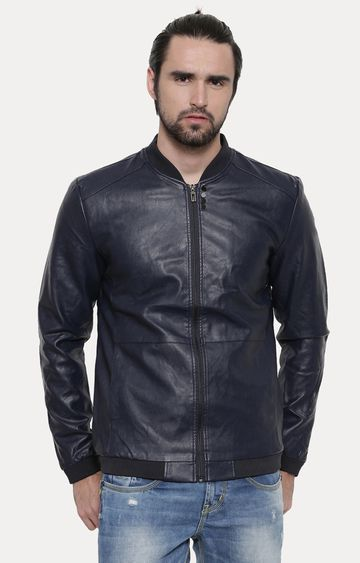 With   Blue Solid PU Leather Jacket