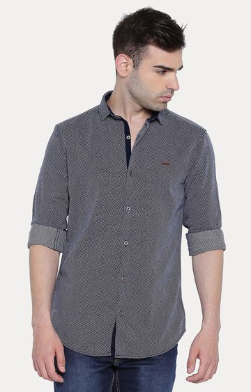With | Navy Patterned Casual Shirt