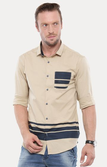 With | Beige Striped Casual Shirt