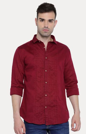 With | Maroon Printed Casual Shirt