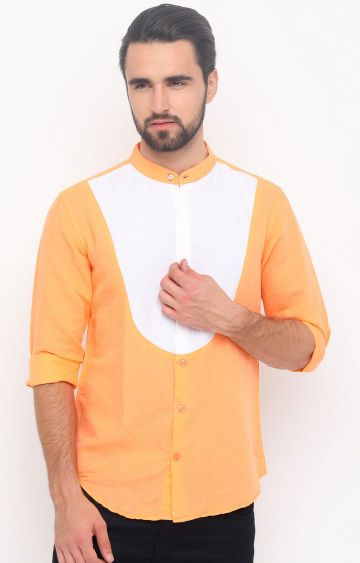 With | Orange and White Colourblock Casual Shirt
