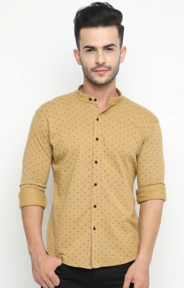 With | Khaki Printed Casual Shirt