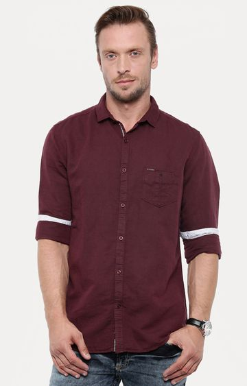 With   Maroon Solid Casual Shirt