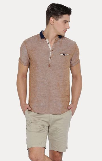 With   Brown Melange Casual Shirt