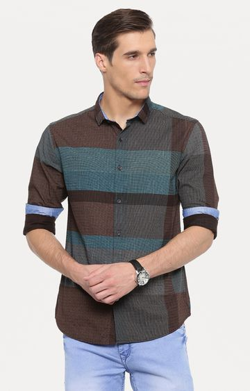 With | Green and Brown Printed Casual Shirt