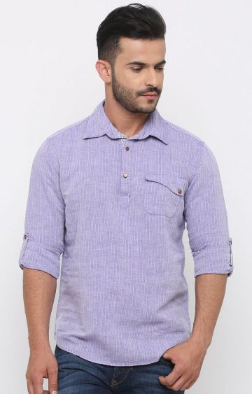 With | Purple Striped Casual Shirt