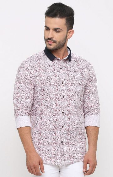 With | White and Maroon Printed Casual Shirt