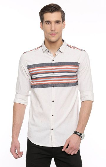 With | Cream and Orange Casual Shirt