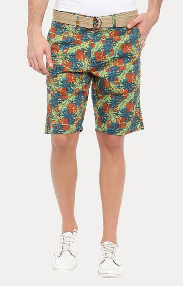 With   Green Printed Shorts