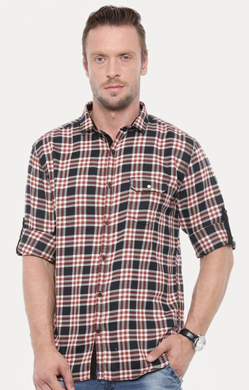 With | Black & Red Checked Casual Shirt