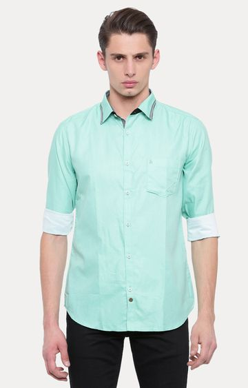 With | Green Solid Casual Shirt