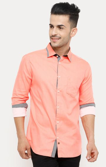 With | Light Orange Solid Casual Shirt