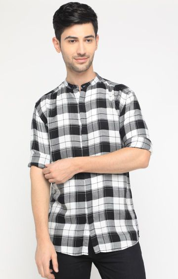 With | Black and White Checked Casual Shirt