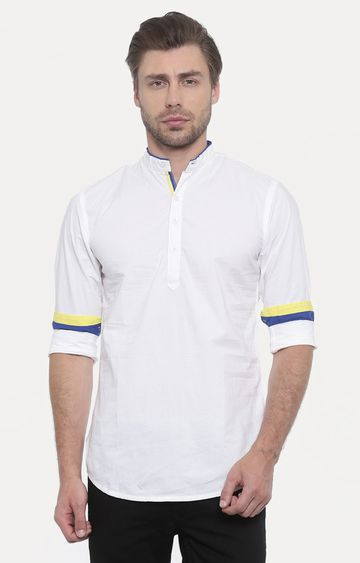 With | White Solid Casual Shirt