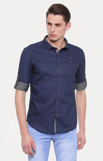 With | Dark Blue Solid Casual Shirt