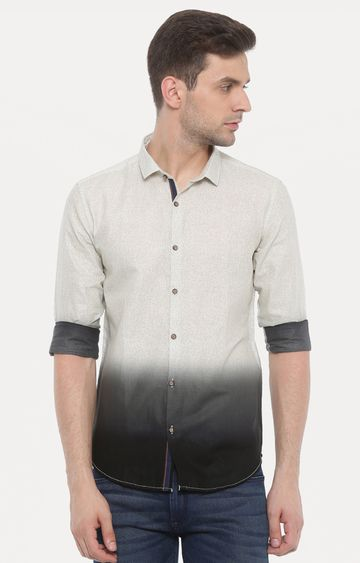 With | Grey and Cream Printed Casual Shirt
