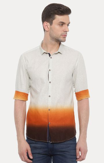 With | Orange and Cream Printed Casual Shirt