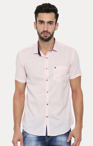 With | Pink Patterned Casual Shirt