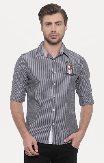 With | Black Striped Casual Shirt