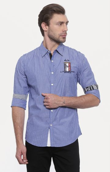 With | Blue Striped Casual Shirt