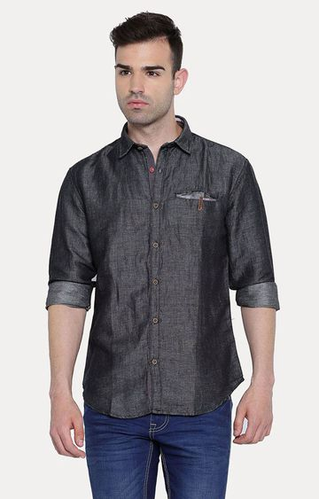 With   Black Solid Casual Shirt