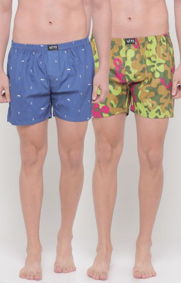 With | Green and Blue Printed Boxers - Pack of 2