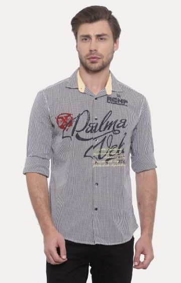 With | Brown Printed Casual Shirt