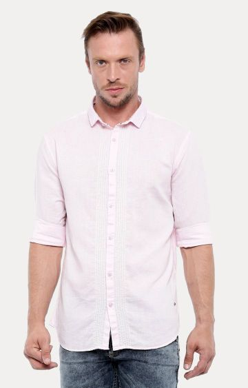 With   Pink Melange Casual Shirt