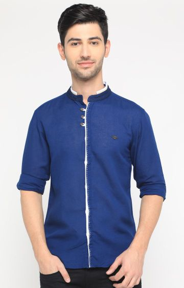 With   Blue Solid Casual Shirt