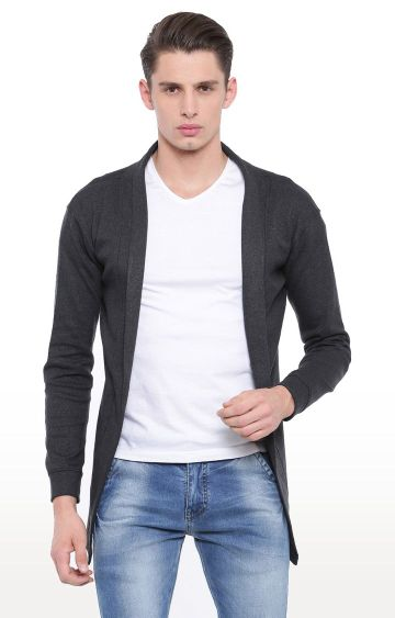 With | Dark Grey Solid Cardigan