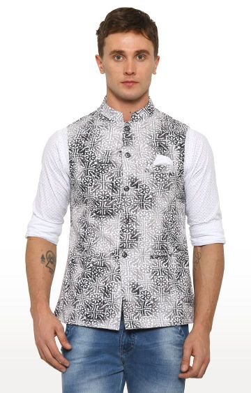 With | Grey Printed Ethnic Jacket