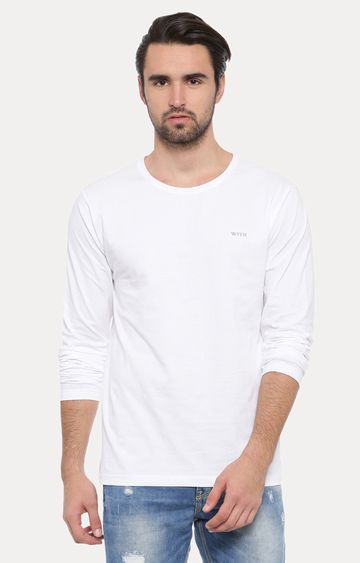 With | White Solid T-Shirt
