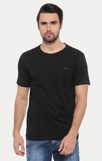 With | Black Solid T-Shirt