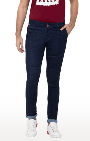 globus | Blue Solid Tapered Jeans
