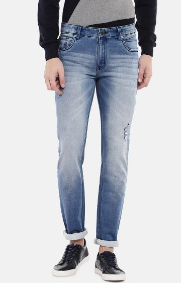 globus | Blue Ripped Mid Rise Slim Fit Jeans