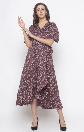 globus | Red Printed Asymmetric Dress