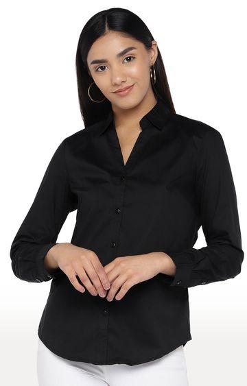 globus | Black Solid Casual Shirt