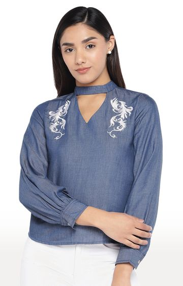 globus   Blue Embroidered Top
