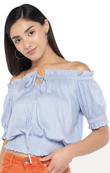 globus | Blue Solid Off Shoulder Top