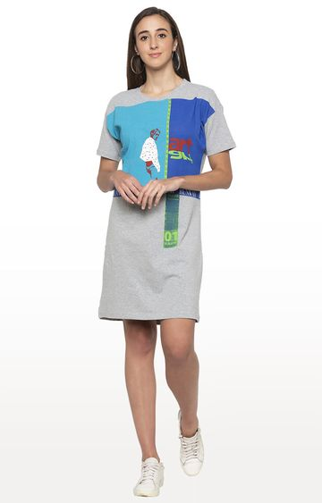 globus | Grey Printed Shift Dress