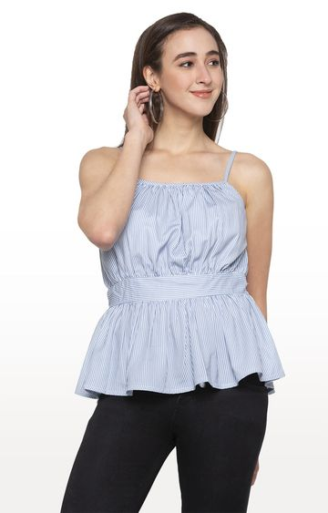 globus | Blue Striped Strappy Top