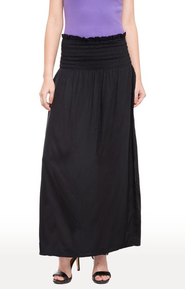 globus | Black Solid Shirred Maxi Skirt