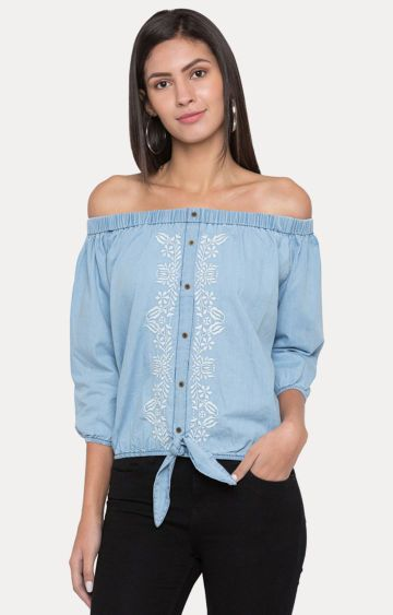 globus | Blue Embroidered Off Shoulder Top