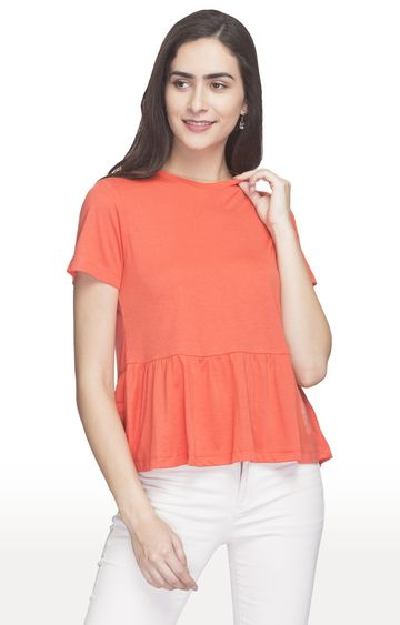 globus | Red Solid Peplum Top