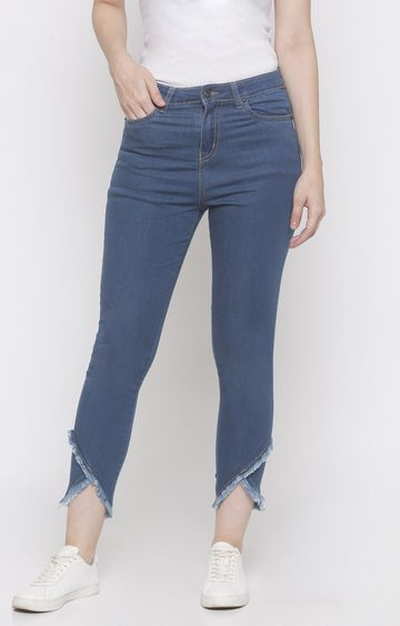 globus | Blue Solid Cropped Jeans