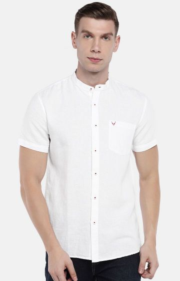globus | White Solid Casual Shirt