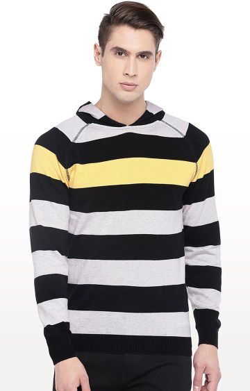 globus | Black and Grey Striped Hooded T-Shirt