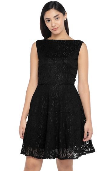globus | Black Embroidered Skater Dress